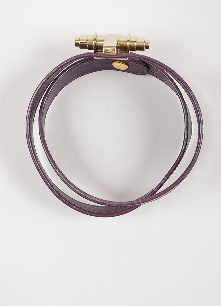 "Grey, Purple, and Gold Toned Leather Givenchy ""Obsedia"" Wrap Bracelet"
