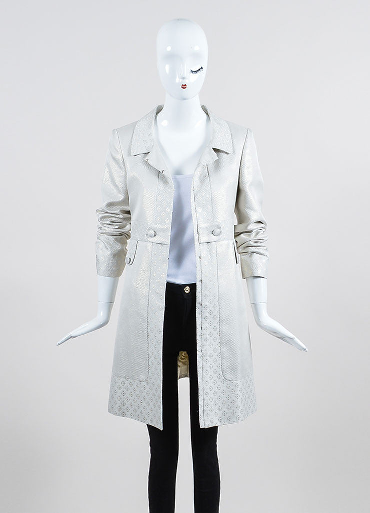 Cream and Metallic Gold Gucci Jacquard Weave Jacket Frontview