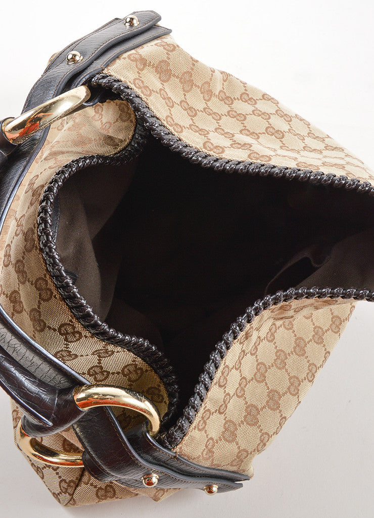 Gucci Tan and Brown Monogram Canvas and Leather Horsebit Large Hobo Bag Interior