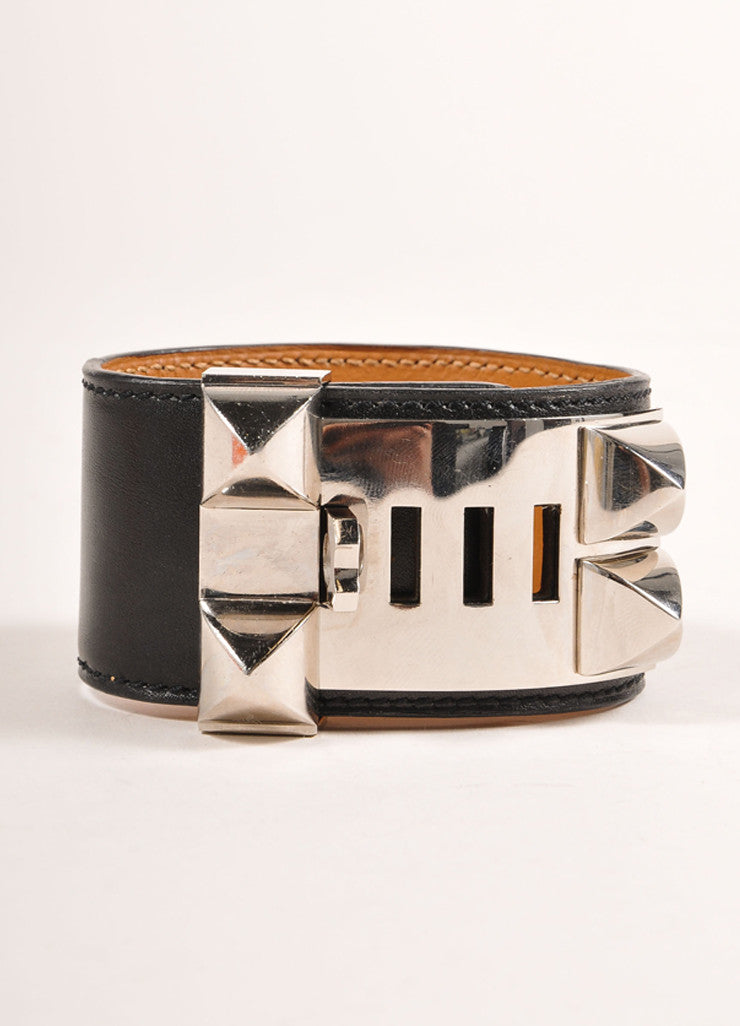 "Hermes Black Silver Tone Studded ""Collier de Chien"" Cuff Bracelet Side View"