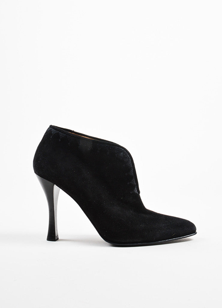 Hermes Black Suede Embroidered Notched Slip On Heeled Booties Sideview