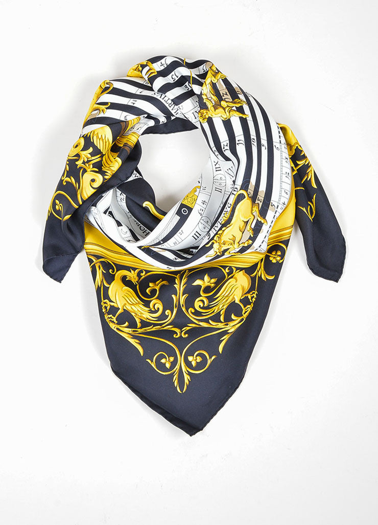 "Black, White, and Gold Hermes ""Astrologie Dies Et Hore"" Zodiac Silk Square Scarf Frontview"