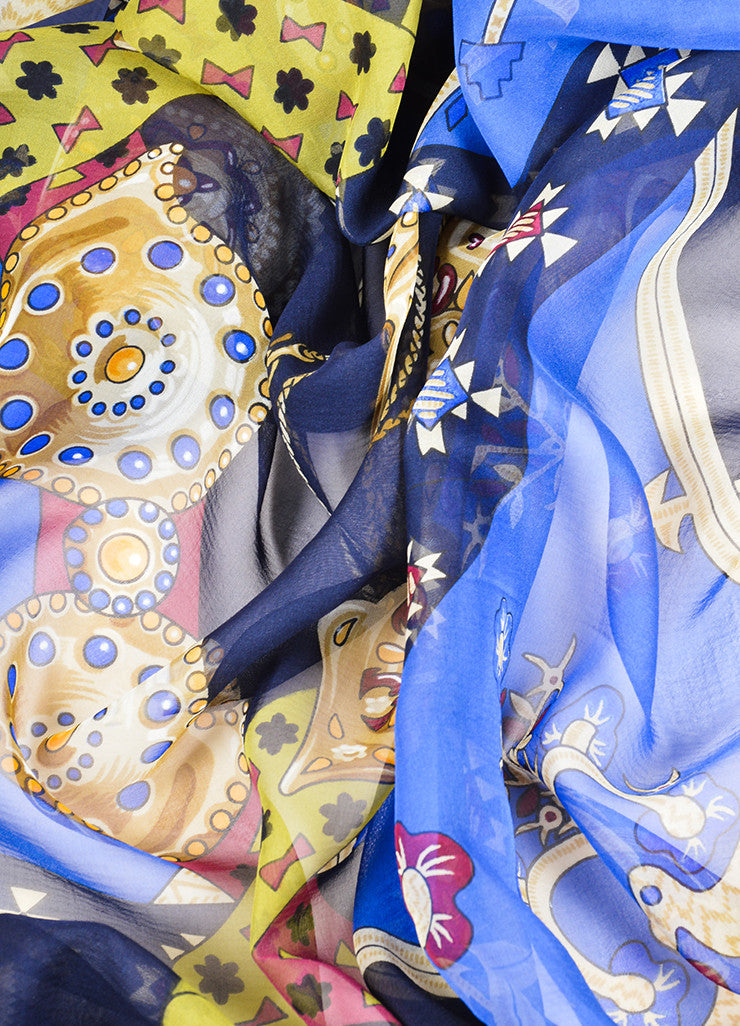"Hermes Blue and Multicolor Silk ""Brins d'Or"" Geometric Print 140cm Sheer Scarf Detail"