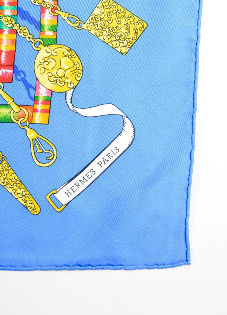"Hermes Blue Silk Buttons, Charms, and Thread ""Petite Main"" Scarf Brand"