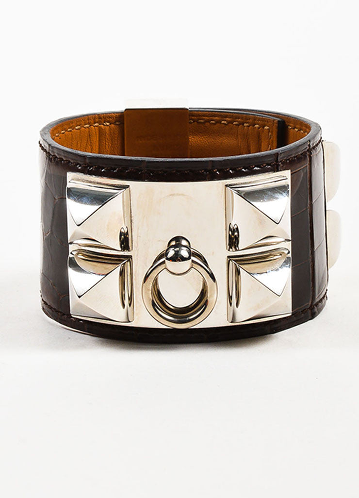"Brown and Silver Toned Hermes Alligator Leather ""Collier de Chien"" Cuff Bracelet Frontview"