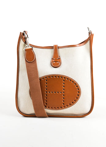 Hermes Cream Brown Canvas Leather 'H'Logo Crossbody Bag Front
