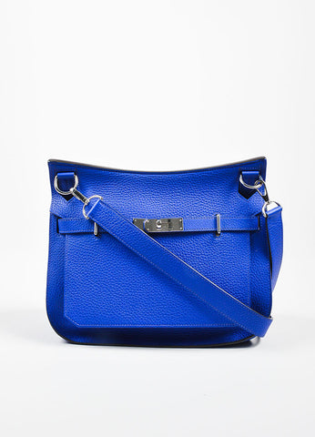 "Hermes ""Electrique"" Blue Leather ""Jypsiere 28 Togo"" Unisex Shoulder Bag Frontview"