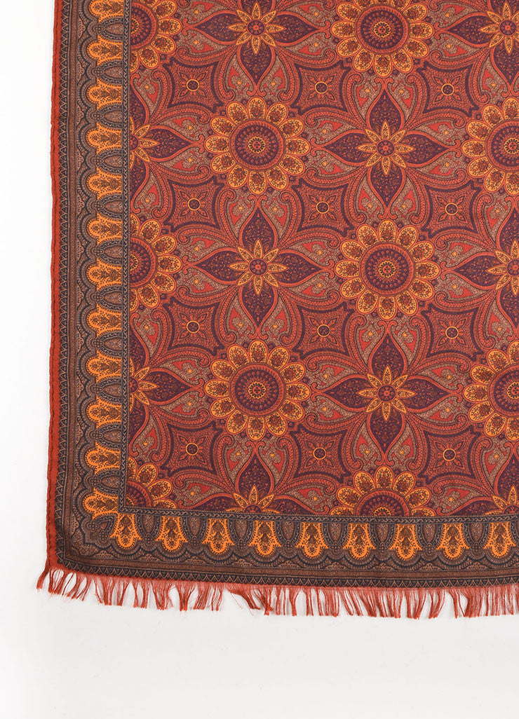 Hermes Rust Orange Cashmere and Silk Blend Printed Fringe Trim Scarf Detail 2