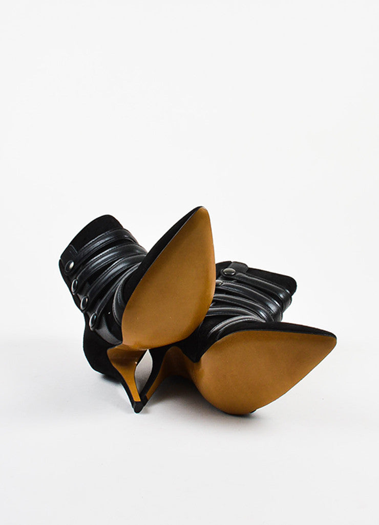 Isabel Marant Black Pony Hair Suede Strappy Pointed Toe Booties Outsoles