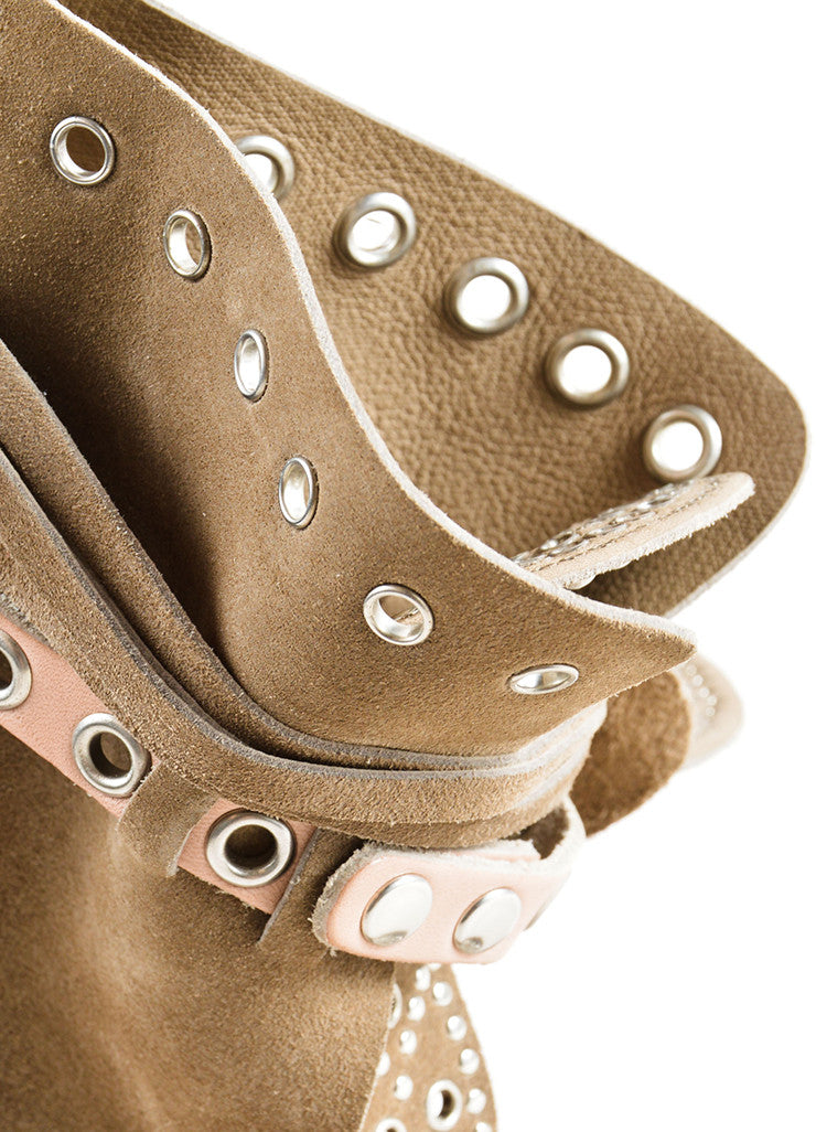 Isabel Marant Grey Suede Leather Studded Moccasin Ankle Heels Detail