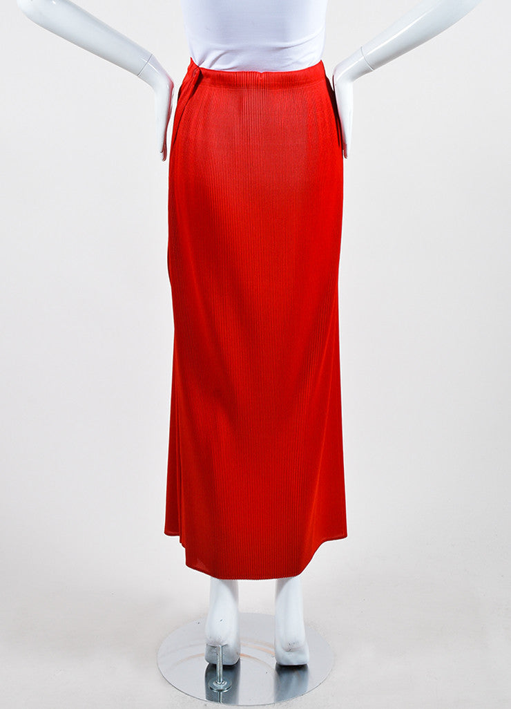 Scarlet Red Issey Miyake Micro Pleated Split Overlay Maxi Skirt Backview