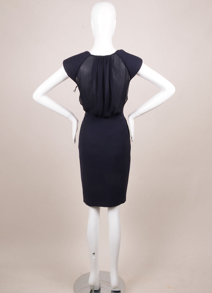 J. Mendel Navy Wool and Sheer Silk Chiffon Sleeveless Dress Backview