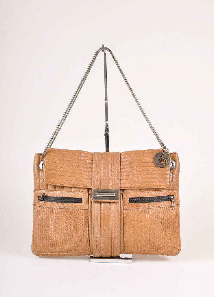 Lanvin Brown Leather Ribbed Flap Chain Shoulder Bag Frontview