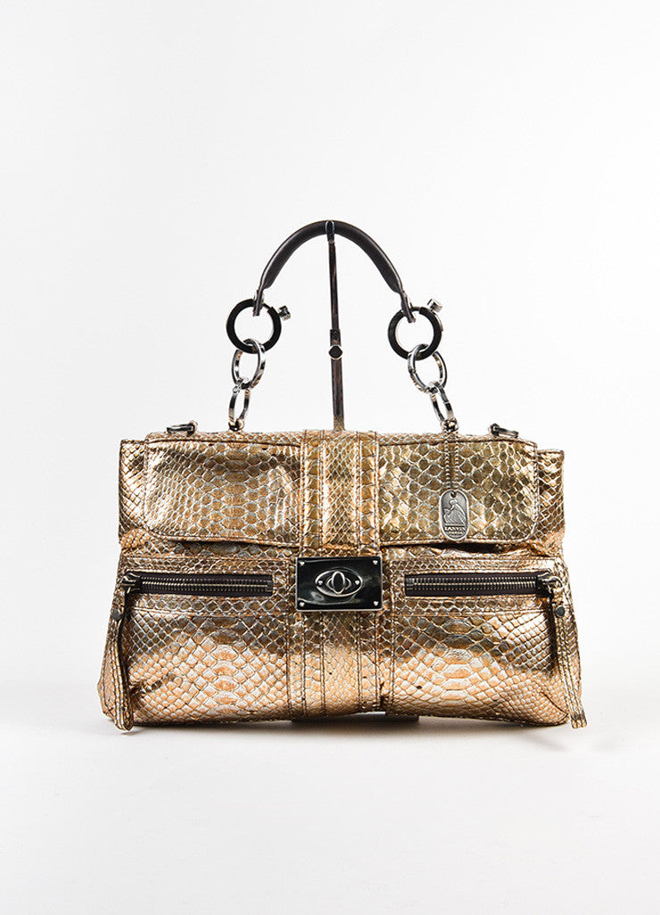 "Silver and Gold Metallic Lanvin Python Chain Handle ""Hero"" Bag Frontview"