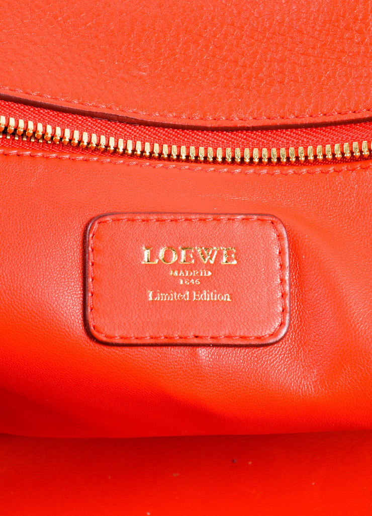 "Loewe Red Leather Limited Edition ""Amazona 36"" Satchel Bag Brand"