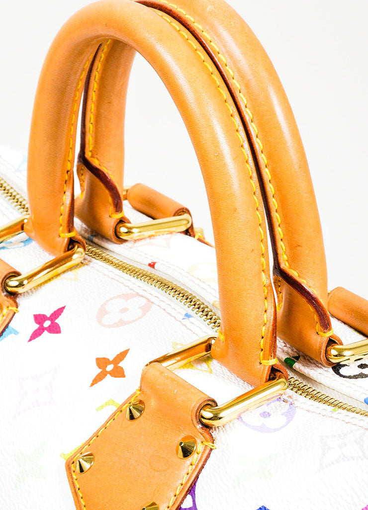 Louis Vuitton Monogram Multicolore Speedy 30 White Canvas and Leather Satchel Detail 2