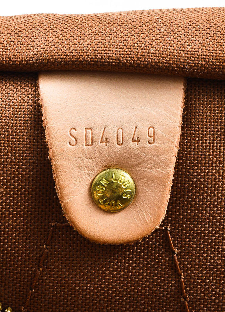 "Brown and Tan Louis Vuitton Coated Canvas Monogram ""Speedy 30"" Satchel Bag Date Code"