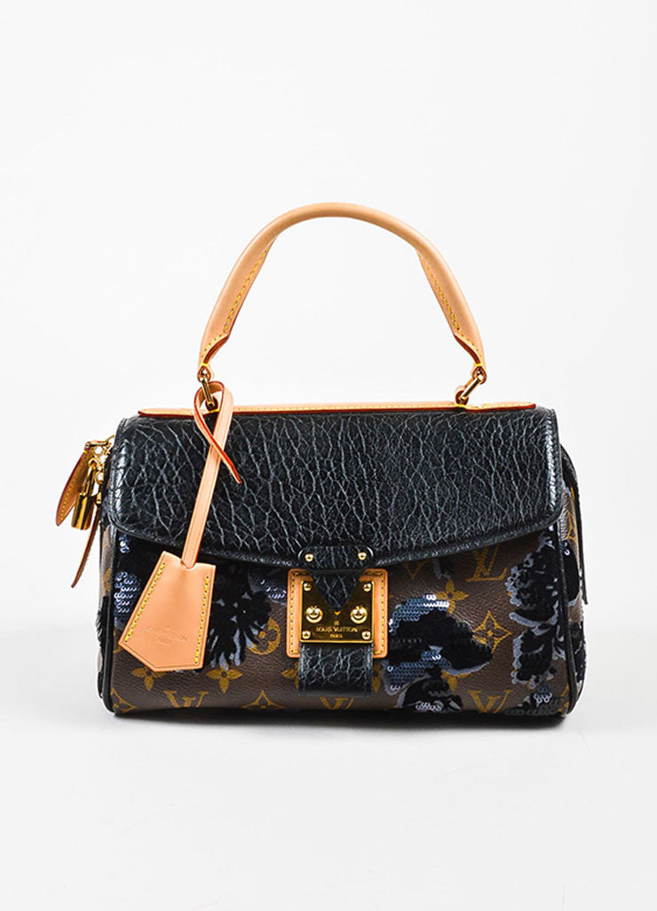"Louis Vuitton Black Leather and Canvas Sequined ""Fleur De Jais Carrousel"" Bag Frontview"