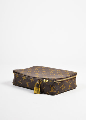 "Louis Vuitton Brown Monogram Coated Canvas ""Monte Carlo"" Jewelry Case Sideview"