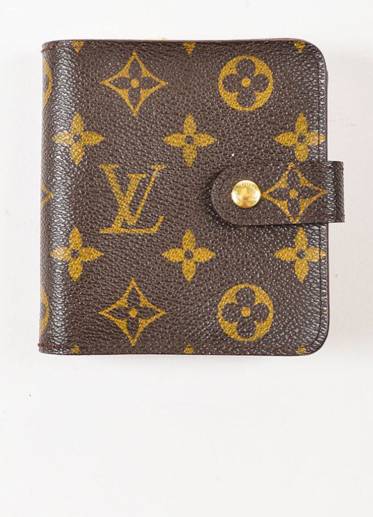 "Louis Vuitton Brown Tan Coated Canvas Monogram ""Compact Zip"" Wallet Front"