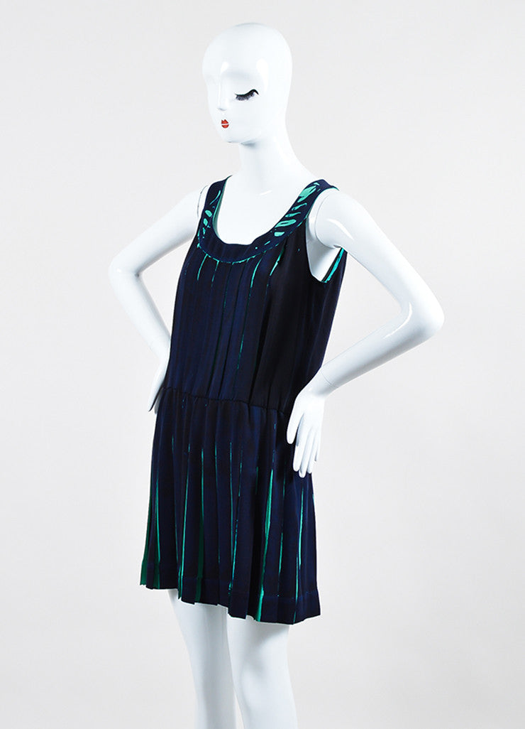 Navy and Teal Louis Vuitton Silk Printed Pleated Sleeveless Dress Sideview