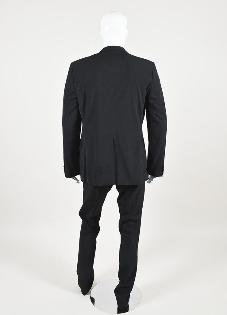 Men's Dolce & Gabbana Black Wool Slim Leg Suit Back
