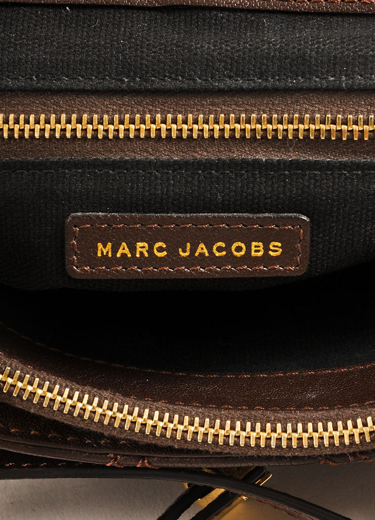 Marc Jaocbs Brown and Gold Toned Leather Quilted Flap Crossbody Bag Brand