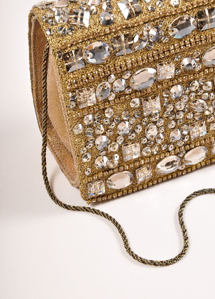 Marchesa Gold Metallic Leather Rhinestone Embellished Clutch Bag Detail 2