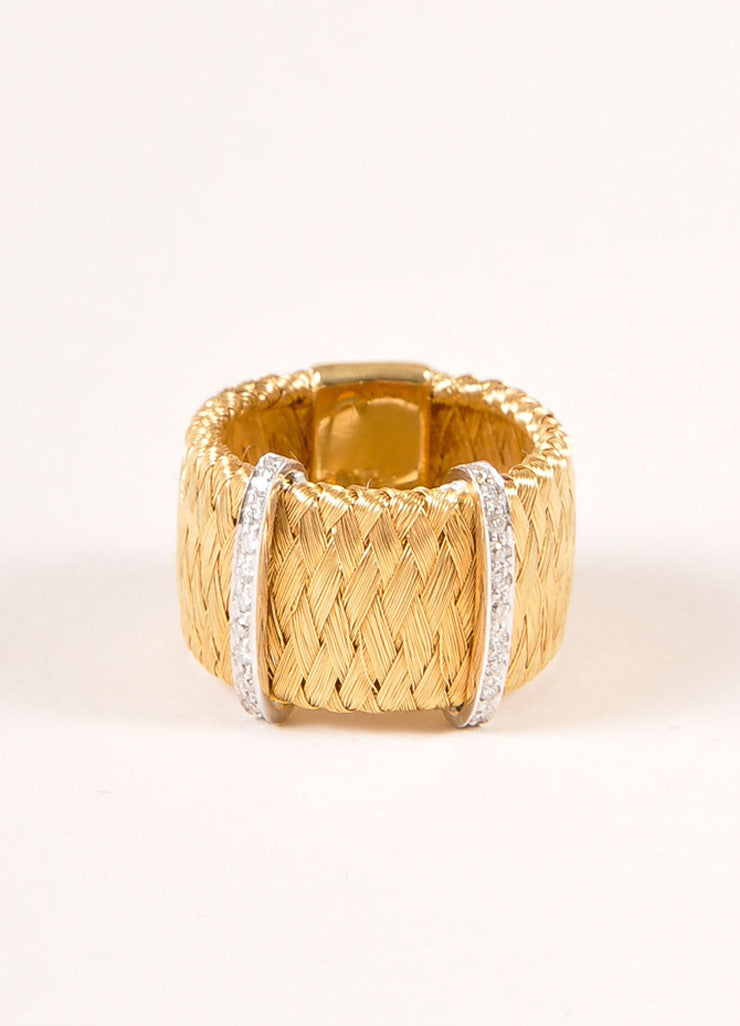 Marco Bicego 18KT Gold Braided Diamond Trim Ring Frontview