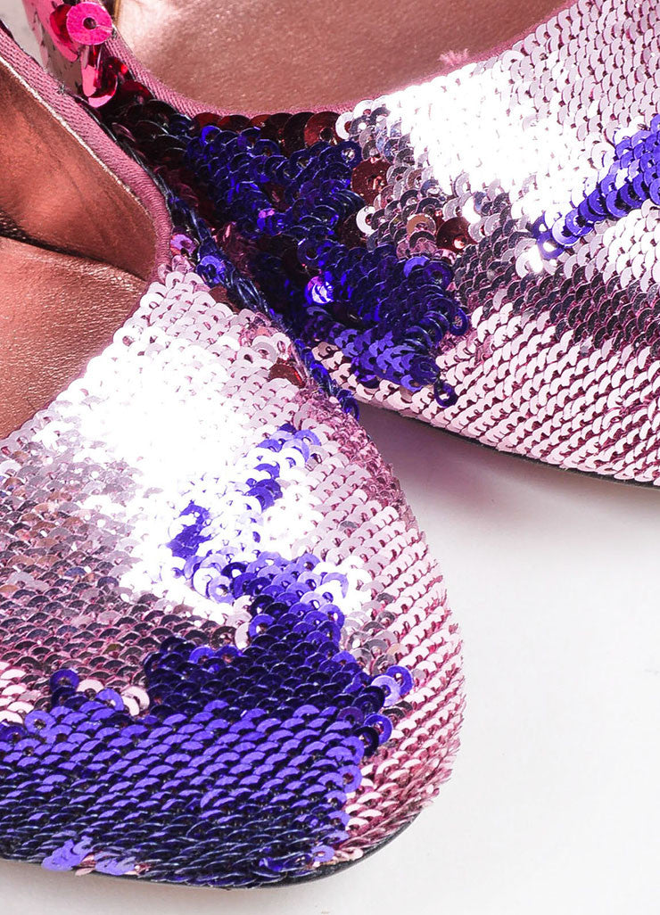 Miu Miu Pink and Purple Sequin Ombre Embellished Almond Toe Pumps Detail