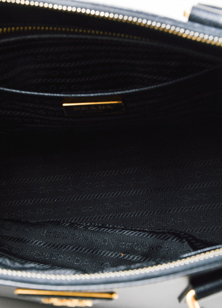 "Black Prada Saffiano Leather ""Lux"" Shoulder Tote Bag Interior"