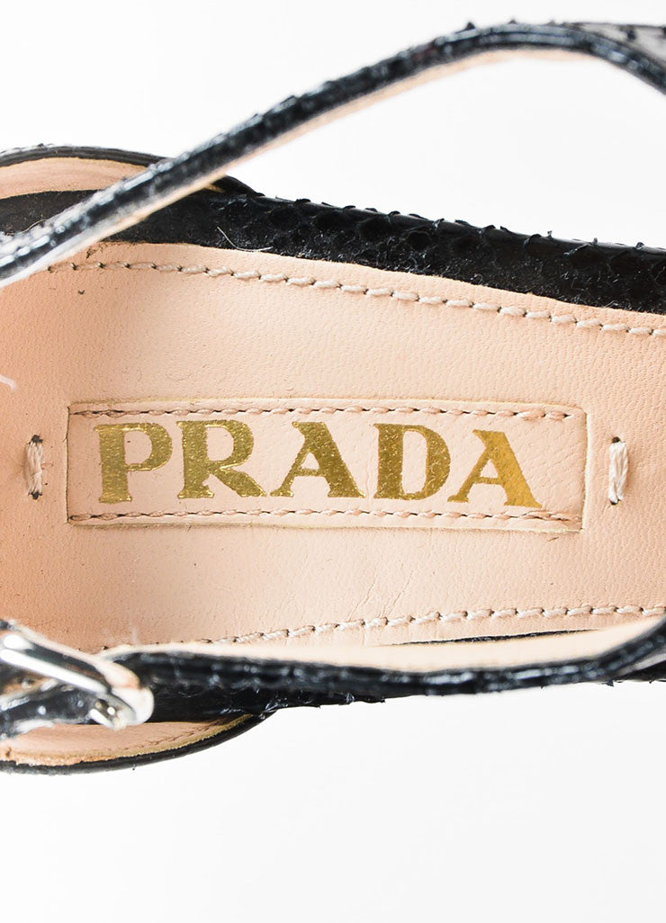 Prada Black and Cream Snakeskin Contrast Platform Heel Peep Toe Sandals Brand