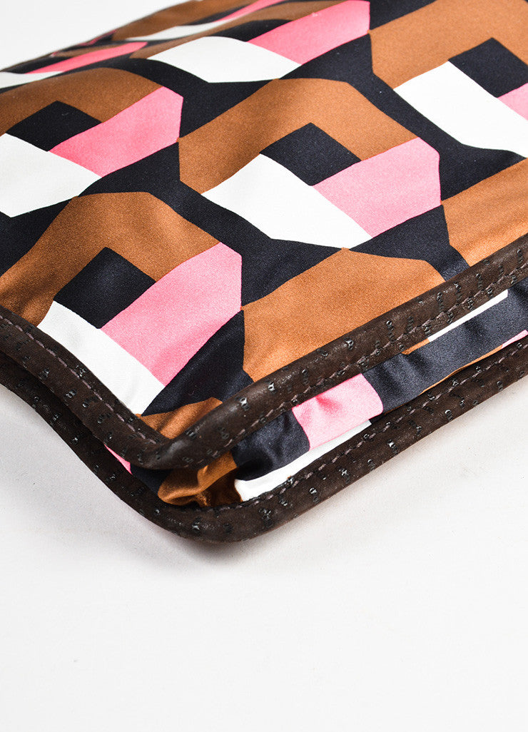 Prada Brown, Pink, and White Satin Holiday & Brown London Specially Reedited Wristlet Detail