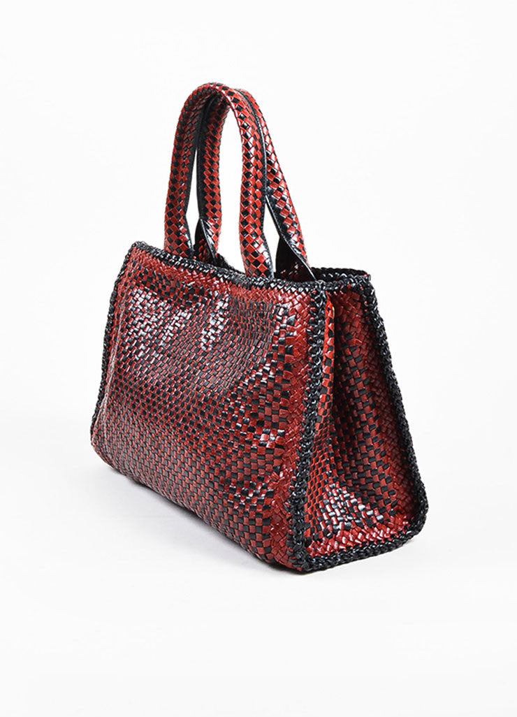 "Prada ""Rubino"" Red and Black Leather Woven Top Handle Cross Body ""Madras"" Satchel Bag Sideview"