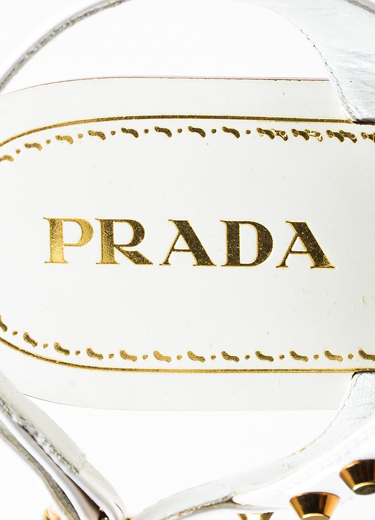 Prada White Patent Leather Gold Toned Studded Flat T-Strap Sandals Brand