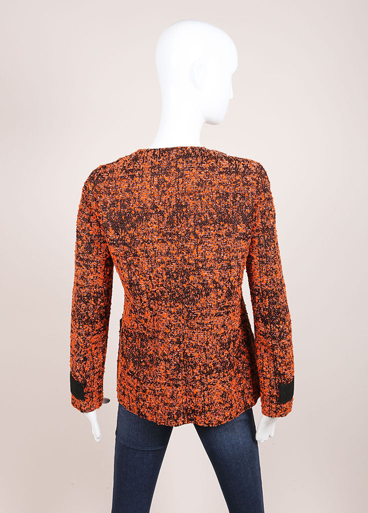 Proenza Schouler Orange and Black Cotton Blend Tweed Buttoned Jacket Backview
