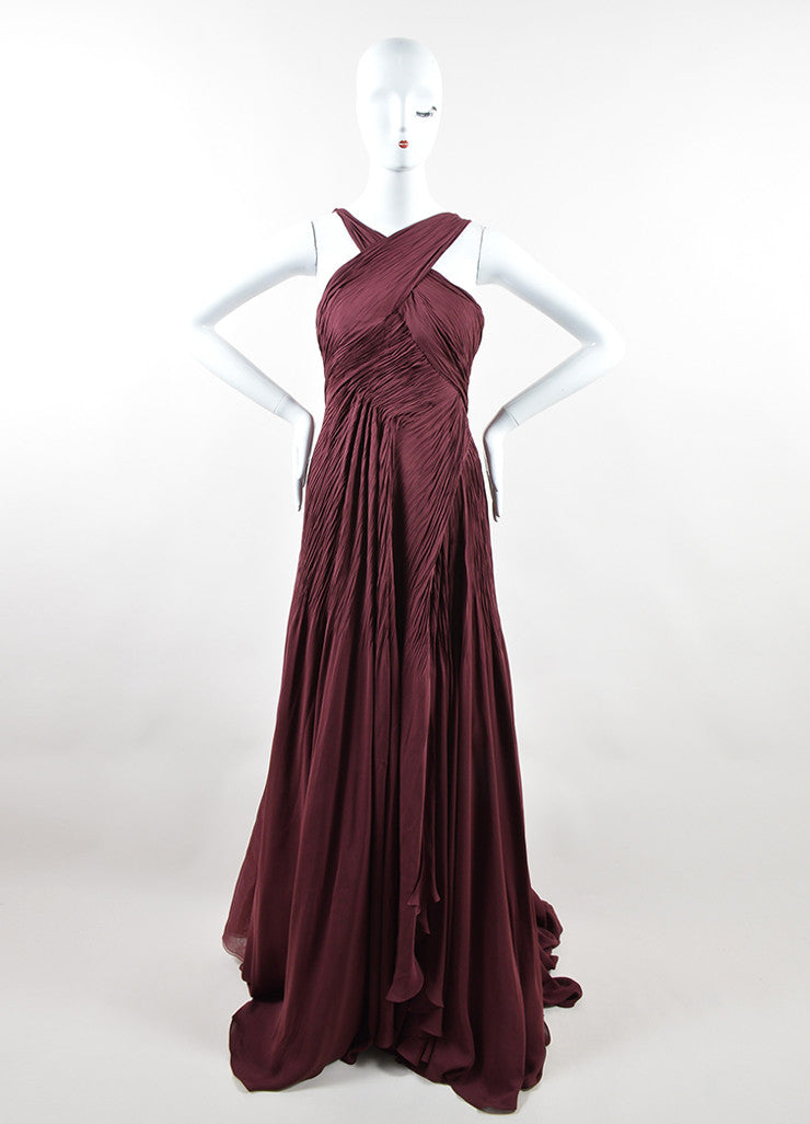 "Ralph Lauren Burgundy Silk Chiffon Draped Pleated ""Adelaide"" Gown Frontview"