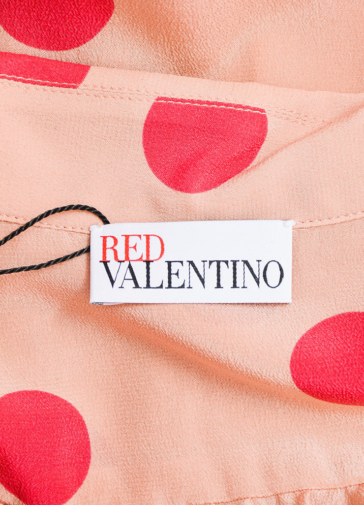 Red Valentino Pink Silk Polka Dot Button Down Blouse Brand