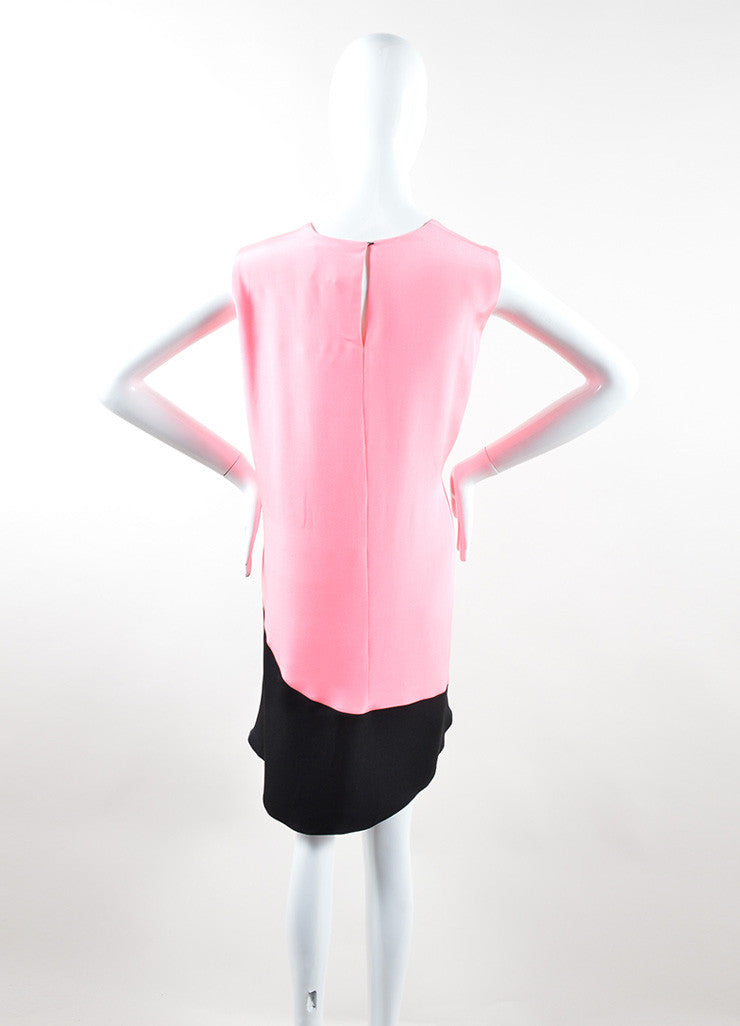 Roksanda Neon Pink and Black Silk Contrast Sleeveless Tent Dress Backview