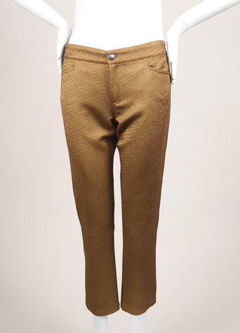 Roseanna New With Tags Metallic Gold Textured Slim Pants Frontview