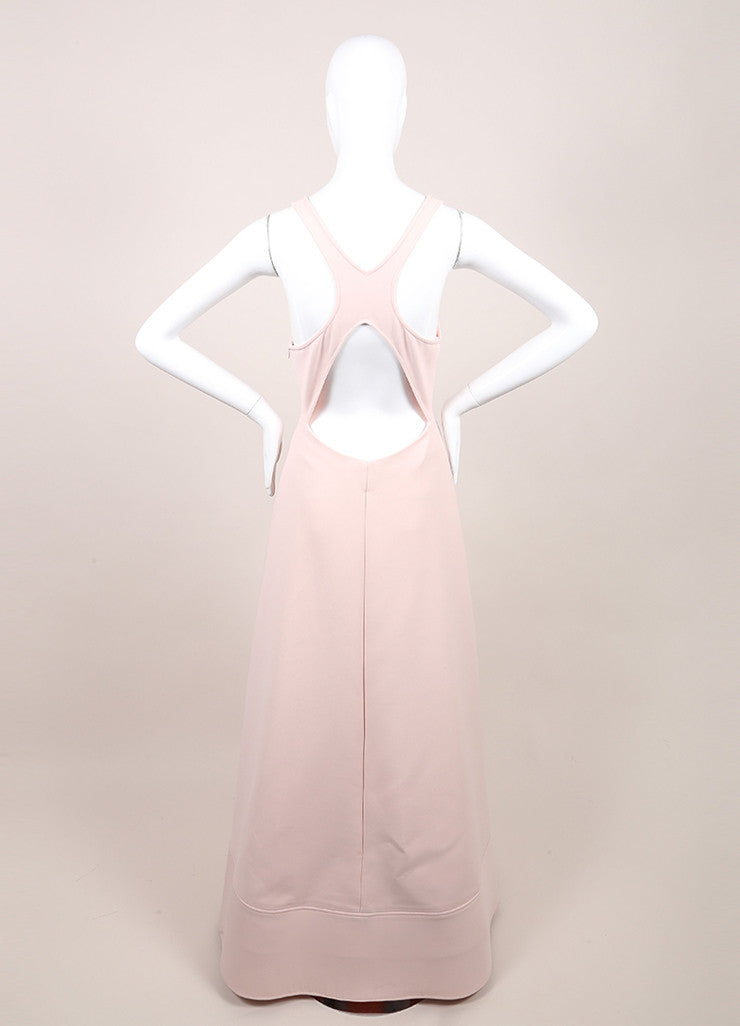 Rosie Assoulin New With Tags Blush Pink Sleeveless Flared Knit Swimsuit Gown Backview