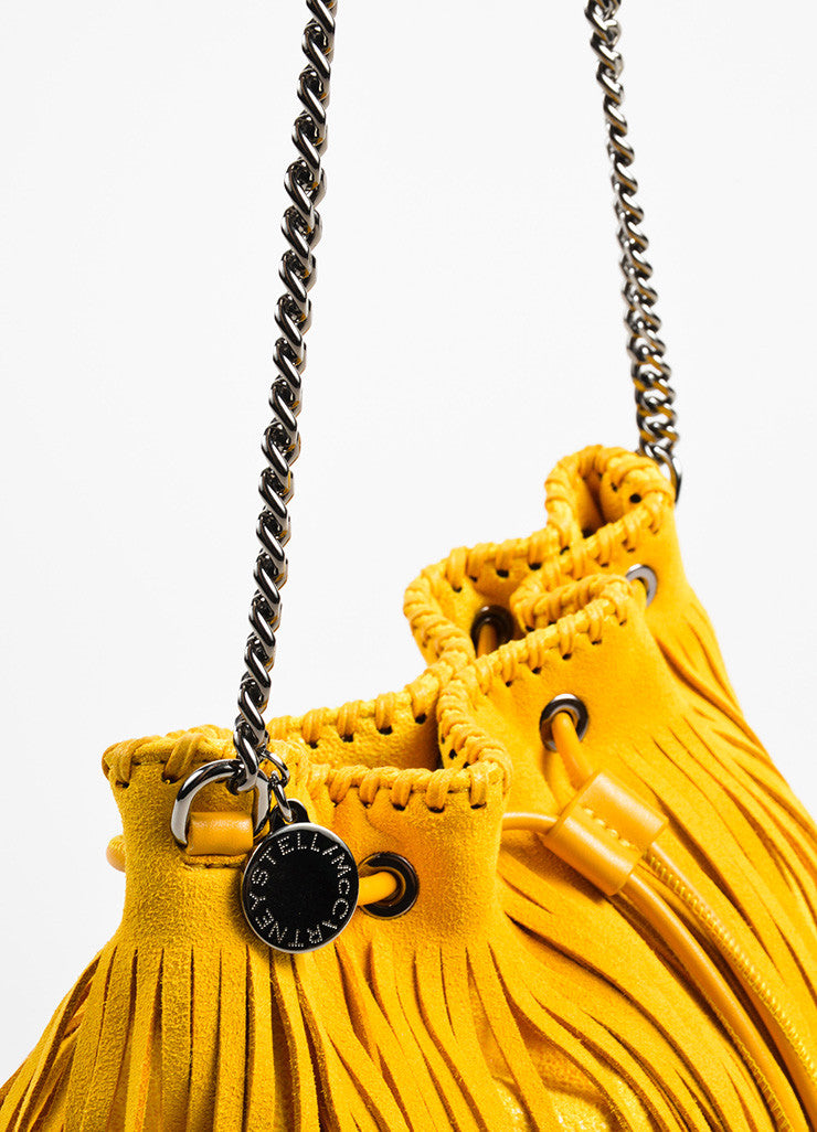 "Stella McCartney Yellow Shaggy Deer ""Sun Falabella"" Fringe Bucket Bag Detail 2"