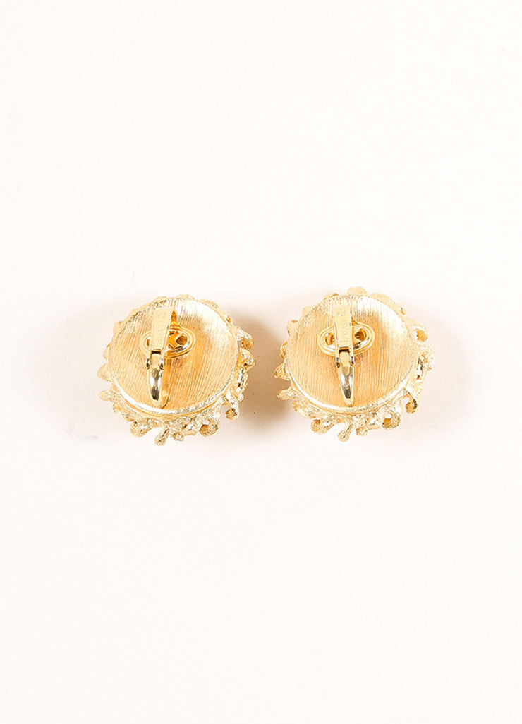 Trifari Gold Toned Textured Metal Thorn Dome Earrings Backview