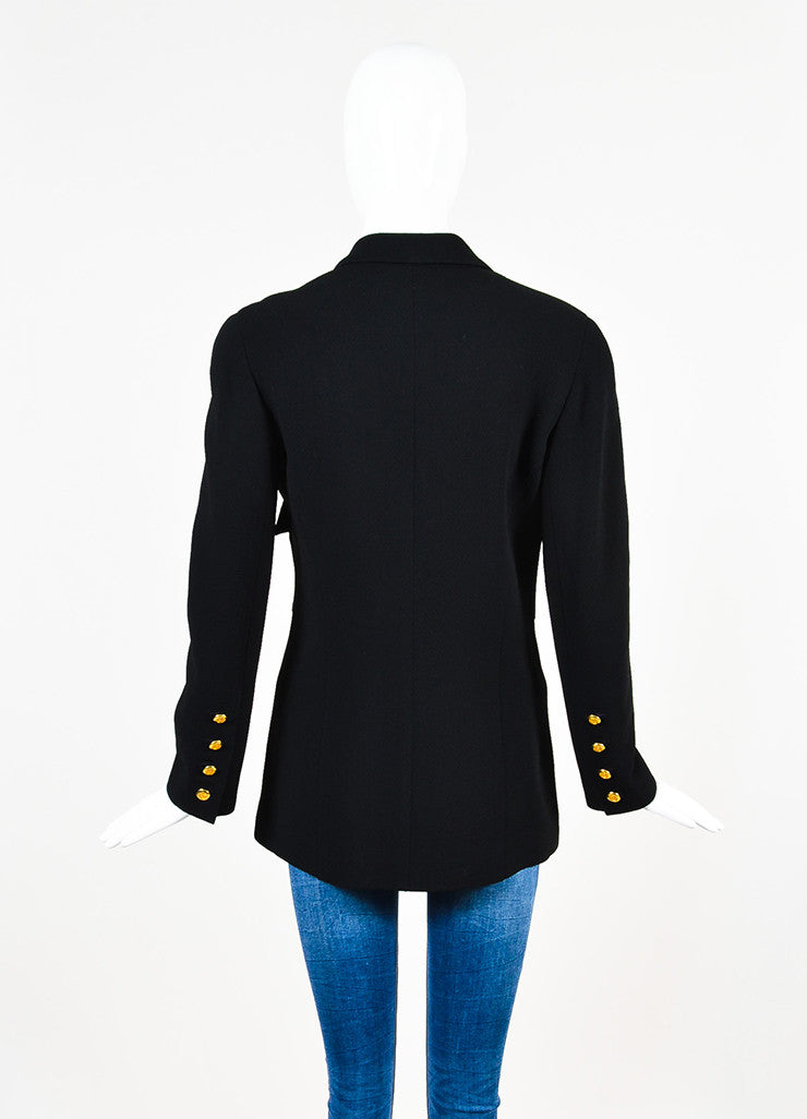 Chanel Black Wool Gold Toned 'CC' Logo Button Jacket Backview
