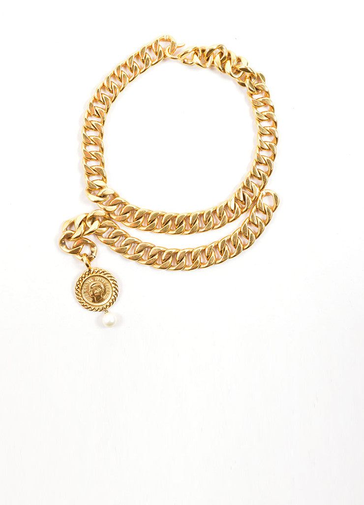 Chanel Gold Toned Draped Curb Chain Faux Pearl Choker Necklace Frontview