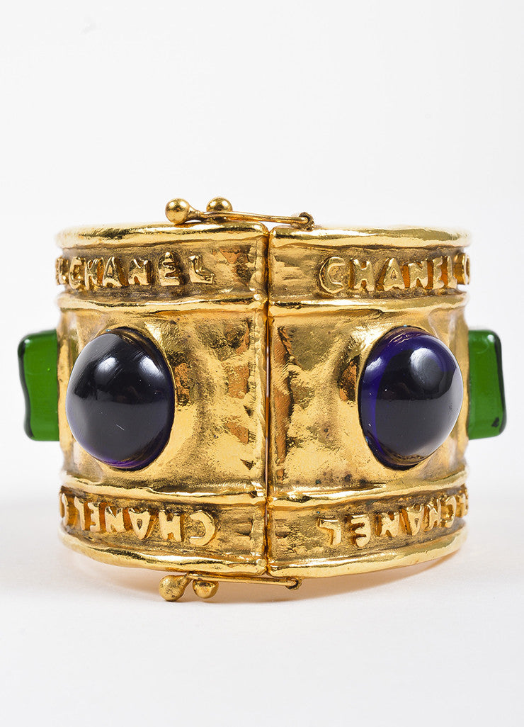 Chanel Gold Toned Hammered Blue and Green Stone Embellished Cuff Bracelet Detail 2