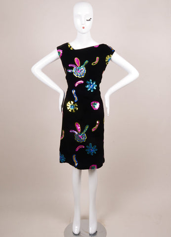 Christian Lacroix Black Velvet Multicolor Sequin Embellished Dress Frontview