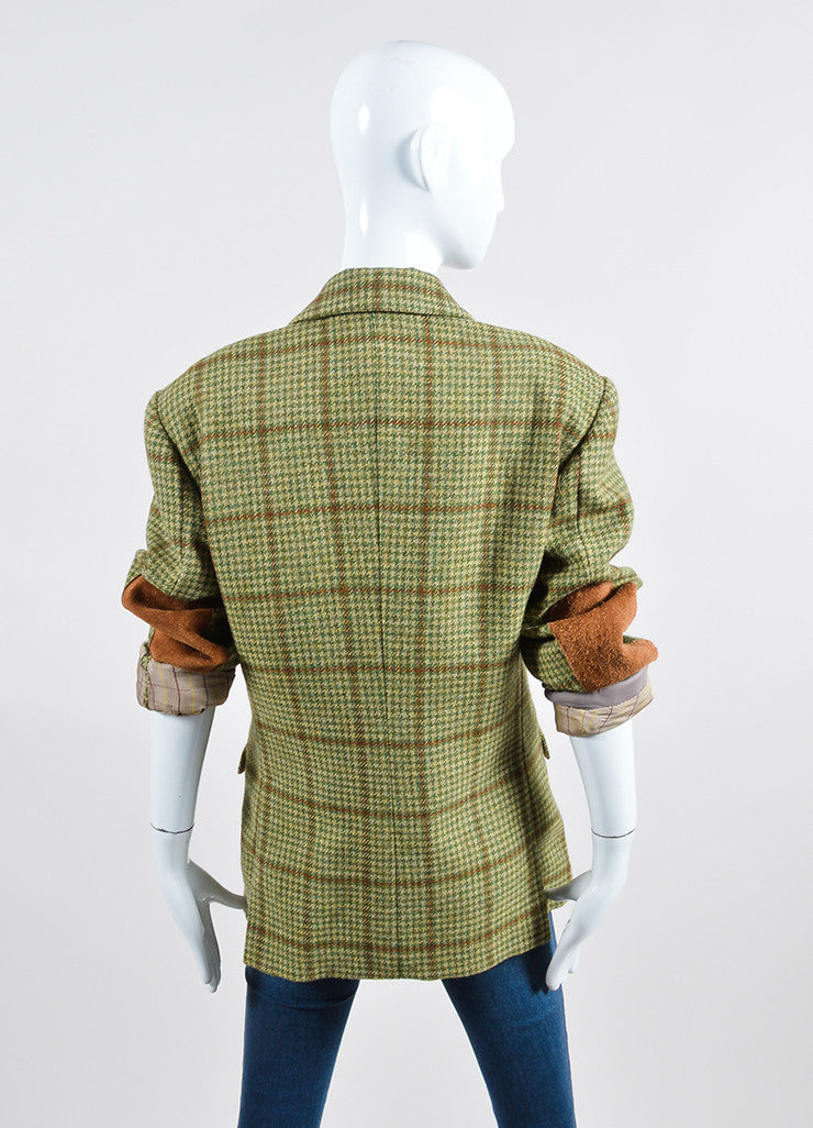 Green and Brown Houndstooth Hermes Suede Elbow Jacket Backview