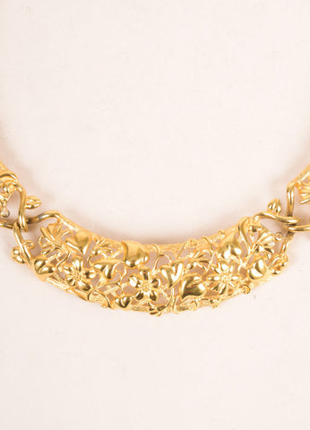 Monet Gold Toned Floral Metal Filigree Collar Necklace Detail
