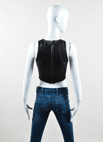 Vintage Moschino Black Leather Sleeveless Crop Top Back